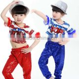 New Sequined Jazz Hip hop dance Costumes Stage Performance Clothing Boys and Girls Holiday Show kids hip hop Wear top +Pant