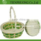 handle rattan/colorful bamboo storage basket/rattan basket/rattan tray for restaurant/hotel