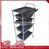 Professional cosmetic hair salon tools storage rolling cart plastic hair salon trolley cart