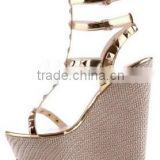 Modern newest fashion women sandals gold stud heels wedge sandals platform ankle strap sandals