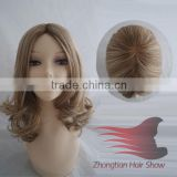 Wholesale Blonde Color Human Hair Full Lace Wavy Silicone Wigs
