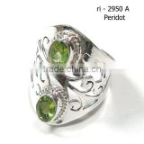 Peridot rings 925 sterling silver jewelry green stone rings Jaipur jewelry 925 stamped rings