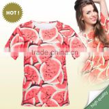 Summer Top selling ready stock printed gym sport high quality watermelon red 3d t-shirt for ladies fashion wear