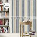 discounted printed vinyl coated wallpaper, navy blue neat wide stripe wall sticker for closet room , fancy wall mural roll