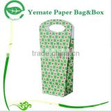 popular in market printed recycle foldable double paper gift wine bottle bag with die cut handle
