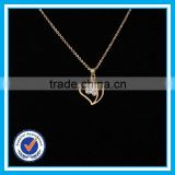 Zircon crystal light weight gold jewellery broken gold heart necklace