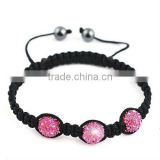 2012 hot sale pink color crystal beads shambala bracelet