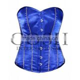 Overbust steel boned corset in blue satin With Rhinestones Ci-1113