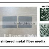 metal fiber filter media for spunbonded polyester