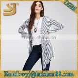 Marled stripe hooded cardigan