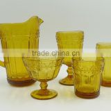 press Wine goblet,Hiball,DOF, sundae cup,pitcher in Amber color glass with flower point embossed pattern