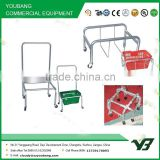 2015 hot sell galvanize or chrome supermarket basket holder with 4 wheels and plastic basket (YB-S003)