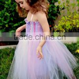 Pretty Child Prom Dress Fashion Lace and Tulle Ball Gown Purple Mother and Kid Dresses