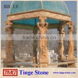 Decorative garden pillars carved beige marble statues