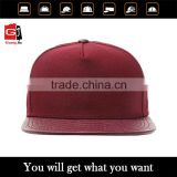 Custom blank 5 panel snapback cap flat brim snap back hat wholesale