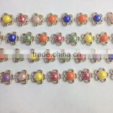 colorful rhinestone chain trimming flower bicycle plastic chain in roll for clothes ,Shoes,handbag,Bracelet decoration