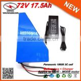 Triangle Style 3600W 72V Electric Bicycle Battery 17.5Ah Li Ion Battery Pack Used in Panasonic Cells with 50A BMS