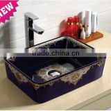 Special application color ceramic shape Pure White antique cabinet wash basin