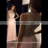 Alibaba 2016 Pink Chiffon Special Occasion Gowns Hand Beading Applique A line Long Elegant Prom DressesLP05