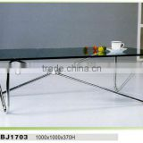 Modern Rectangular Glass Coffee Table With Metal Legs/glass Top Stainless Steel Base Coffee Table/ with glass top