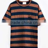 Kids navy and brown stripes knitted bamboo cotton with left chest pocket leisure summer tee shirt