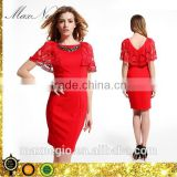 Knee-Length backless embroidery lace sleeve evening dress red short patterns