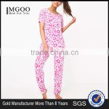 MGOO Full Print Women Long Pyjama Pink Leopard Print PJ Set Digital Print Cotton Pajamas