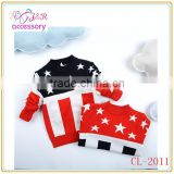 Children's clothes in the spring In the fall of the new children in the han edition Boys striped stars set of head warm sweater