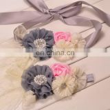 Vintage Sash Belt Headband Sets Satin Grey Ivory Flower Sashes With Lace Bows For Wedding Accessory