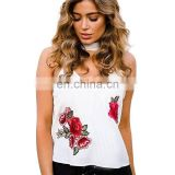 2017 New Fashion Design Floral Embroidered V Neck Halter Top For Women