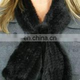 2014 Natural top quality black fashion knitted mink fur scarf