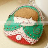 colorful custom russia doll handmade No woven purse wallet with keychain