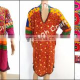 Kuchi Afghan Dress Top - Afghani Costume Banjara Mirror Work Tunic Top - Tribal Hippie Style Costume Dress