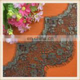 Popular black polyester eyelash lace trim with gold lurex double scalloped for garment/dress wholesale