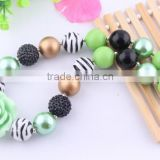 2014 new DIY fashion chunky acrylic bubblegum beads necklace, flower pendant statement necklace ! for kids birthday gift!!