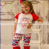 Hot sale patriotic sets girls boutique outfit 4th of july baby girl boutique clothing sets