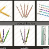 lowest price !!! New Fashion color Acrylic Handle Double End Nail Dotting Tool Kit ///dotting tools nail art pen #75278