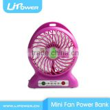 2015 Special Christmas gift USB Mini Fan power bank for cellphone