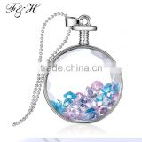 Yiwu Jewelry Manufacturer Birthstones Crystals, Glass Floating Locket Pendant Necklace