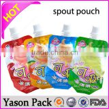 Yason ziplock resealable standing doypack pouch with spout ziplock reusable drink pouch with spout zip spout pouch/milk bag with