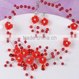 Europe and America Handmade rose flower and pearl neclace set brides wedding jewelry GJ-087