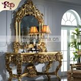 Luxury wholesale classic furniture gold leaf gilding console table and mirror                                                                         Quality Choice