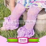 Stylish baby wholesale clothes boutique girl's lace leg warmers multi-colored baby legwarmers