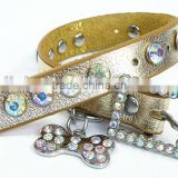 Christmas Diamond studded dog collars hand-made jewel leather pet collar, wholesale leather dog collar , dog collar leather,