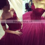 (MY3354) MARRY YOU Elgant Off-shoulder Red Lace Ball Gown Evening Dresses China