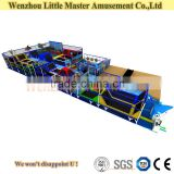 (LM-Tr004) Wenzhou Big Rectangular Courage Obstacles Used Indoor Tramopline with Foam Pit for Sale