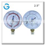 High quality steel case brass internal refrigeration freon gas gauge