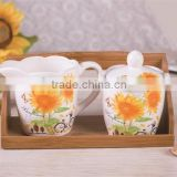 Wholesale Ceramic Creamer and Sugar Canister Set with Bamboo Stand