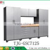 TJG-GSC7125 Wholesale Garage Shelves System Storage Cabinets With Silver Diamond Plate Doors