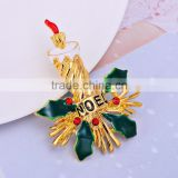 48*32mm New Christmas Brooch Pin High Quality Rhinestone Christmas Brooch for Decoration